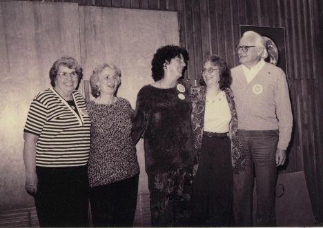 Leslie Brockelbank, Justine Heavilon, Marion Sweeney, Marion Malcolm, and Charles Gray pose for a photo in May 1996