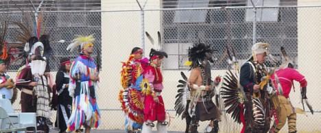 Lakota Club members, family, and spiritual leaders participate in a powwow inside the Oregon State Penitentiary