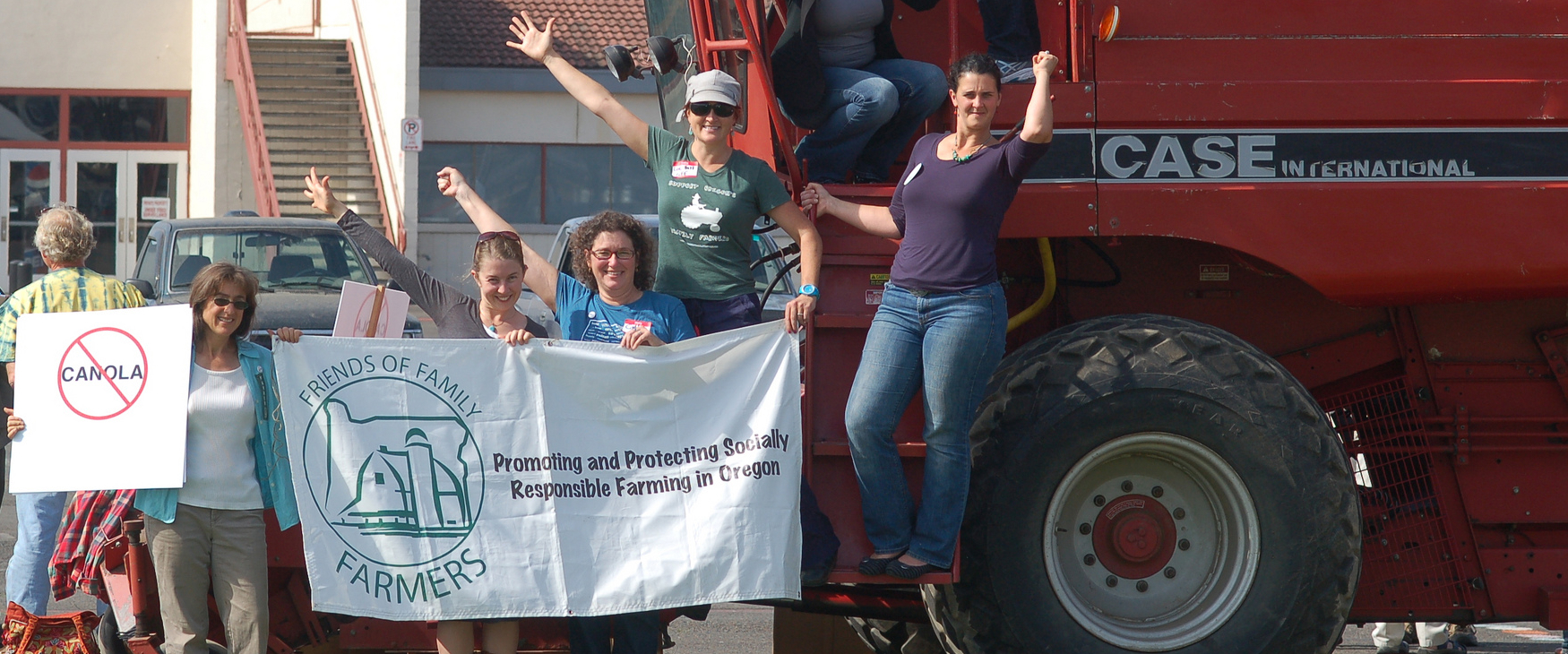 Friends of Family Farmers supporters gather around a tractor