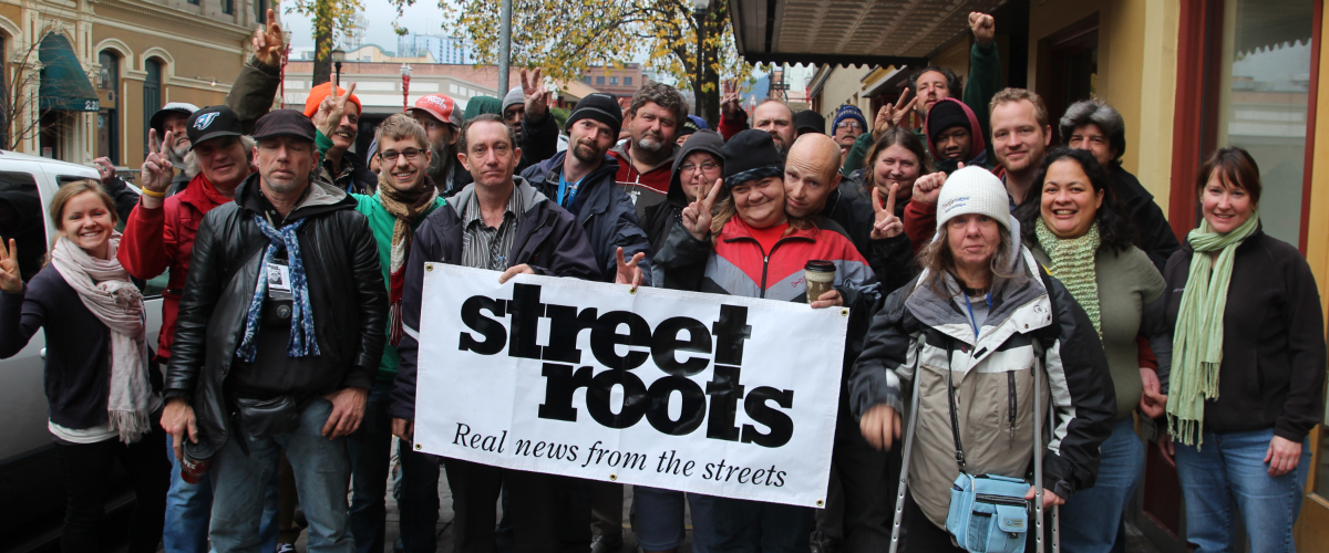 Street Roots vendors and members gathered