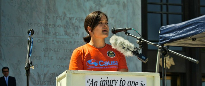 Andrea Miller speaks in front of the Oregon state Capitol