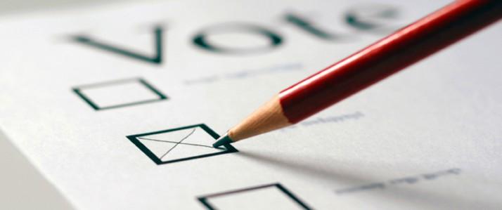 Pencil filling out a ballot