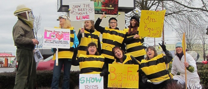 Action at Home Depot with people dressed as bees.
