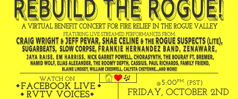 A flyer for Rebuild the Rogue, a virtual benefit concert on October 2nd